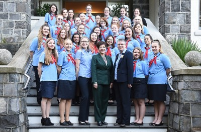 Image of the recipients with Dame Patsy