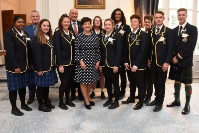 an image of Dame Patsy and Sir David with Otaki College representatives