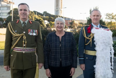 an image of Lieutenant General Tim Keating, Dame Sian Elias and Air Vice-Marshall Kevin Short
