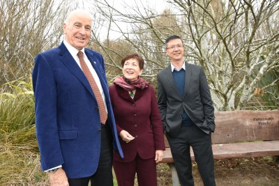 an image of Dame Patsy and Sir David with Allen Lin, Chair of Selwyn Waihora Zone Committee