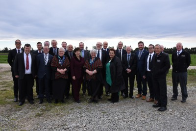 an image of Dame Patsy with the partners who are working together to rehabilitate Te Waihora catchment