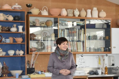 an image of Dame Patsy admiring the pottery room at the Phillipstown Community Hub