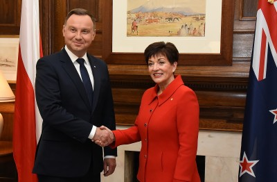 Image of Dame Patsy with the President of the Republic of Poland, HE Andrzej Duda