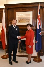 Image ofDame Patsy and the President of the Republic of Poland, HE Andrzej Duda shaking hands
