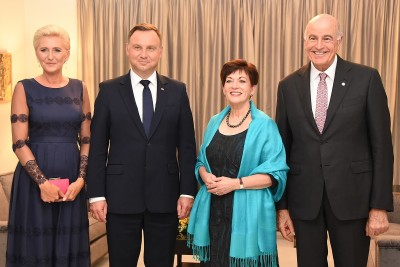 Image of Dame Patsy and Sir David with  President of the Republic of Poland, HE Andrzej Duda and Agata Kornhauser-Duda