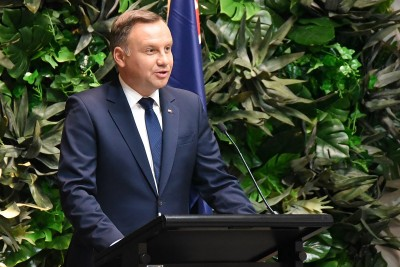 Image of the President of the Republic of Poland, HE Andrzej Duda speaking