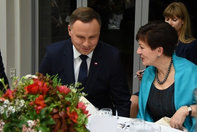 Image of  Dame Patsy and President of the Republic of Poland, HE Andrzej Duda at dinner