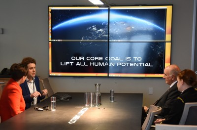 Image of a powerpoint display at Rocket Lab