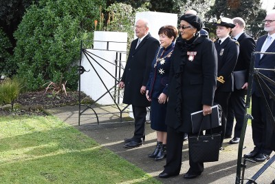Image of Dame Patsy and the delegation at the entrance of Putiki Marae