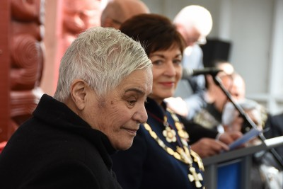 Image of Dame Patsy and Dame Tariana listen to the citation being read