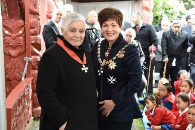 Image of Dame Patsy and Dame Tariana after the investiture
