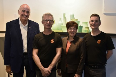 Image of Dame Patsy and Sir David with Philip Stokes and Scott Redding of New Zealand Glassworks
