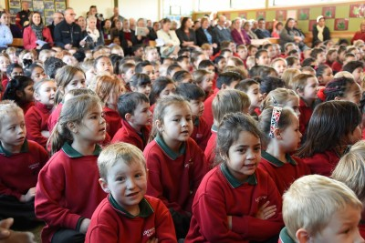 an image of Linwood North students and parents in their new school hall