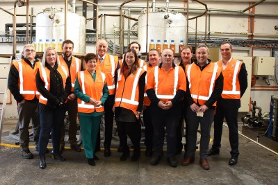 an image of Dame Patsy and Sir David with Graeme Johnson, CE Fulton Hogan and Green Fuels staff