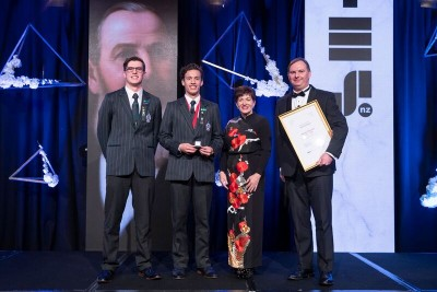 an image of Dame Patsy with Harrison Dudley-Rode, Israel Grant and Aaron Snodgrass for inductee James Dilworth