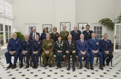 Image of Dame Patsy and Sir David with recipients from the services