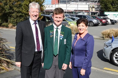 Image of Dame Patsy with Burnside HIgh School Principal Phil Holstein and Into Motion student leader Dominic Wilson.