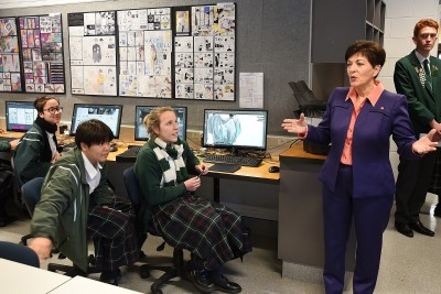 Image of Dame Patsy speaking to students
