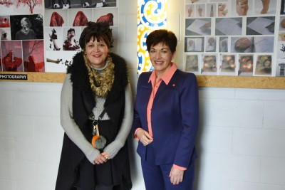 Image of Dame Patsy with Burnside High School head of Visual Arts Vanessa Sandes