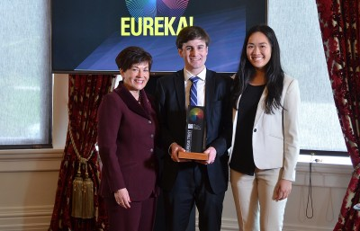 Image of Dame Patsy with 2018  Sir Paul Callaghan Eureka! Premier Award winner George Mander and 2017 winner Neakiry Kivi
