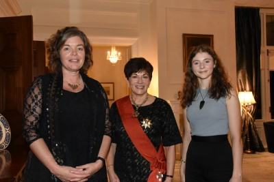 an image of Dame Patsy with Professor Juliet Gerrard and Thomasin McKenzie