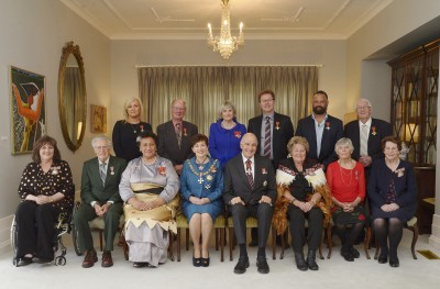 an image of A group photo with Dame Patsy and Sir David