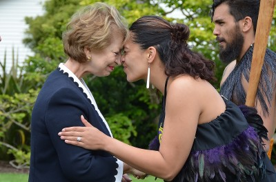 Image of a hongi for Ambassador of the Republic of France, HE Ms Sylvaine Carta-Le Vert