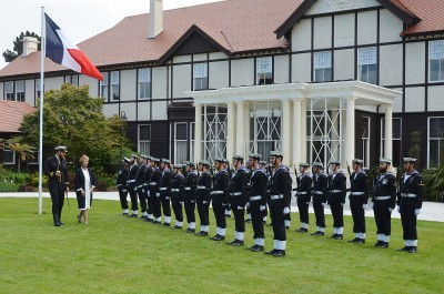 Image of Ambassador of the Republic of France  HE Ms Sylvaine Carta-Le Vert inspecting the Guard of Honour