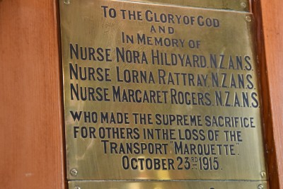 an image of Plaque honouring victims in the sinking of the Marquette in October 1915