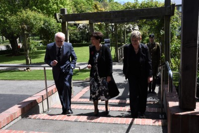 an image of Canon David Morrell, Dame Patsy and Hon Lianne Dalziel arriving at the re-opening ceremony