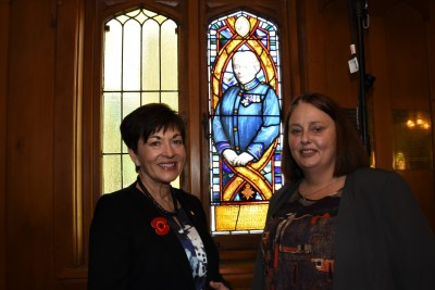 Dame Patsy and Cheryl Hanham with a new window dedicated to Hester Maclean