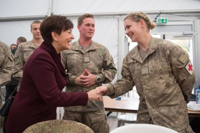 an image of Dame Patsy meeting NZDF personnel at Le Quesnoy
