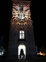 an image of Le Quesnoy bell tower with Maori motif