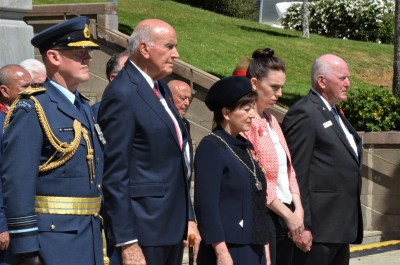 an image of Sir David, Dame Patsy and the Governor-General observing 2 minutes silence