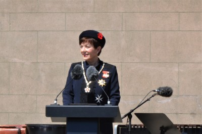 an image of Dame Patsy delivering her commemorative address