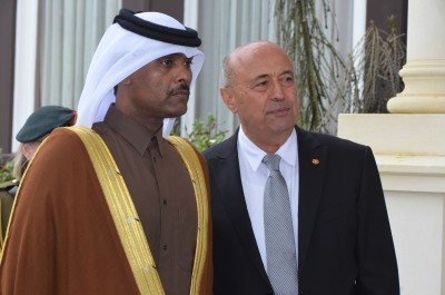an image of HE Mr Saad Abdullah Al Mahmoud Al Shareef, Ambassador for the State of Qatar and Prof Piri Sciascia