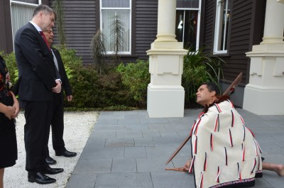 an image of A member of the cultural party laying down a challenge to HE Mr Jurij Rifelj, Ambassador of the Republic of Slovenia