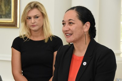 Image of Acting CE of the Ministry for Women, Helen Potiki speaking