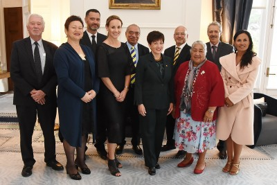 Image of The new Chief Justice of Niue, Judge Craig Coxhead and new Judge Miharo Armstrong with Dame Patsy with guests