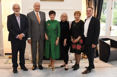 Image of Dame Patsy and Sir David with current NZFC CEO Annabelle Sheehan and former CEOs Dave Gibson, Ruth Harley and Graeme Mason