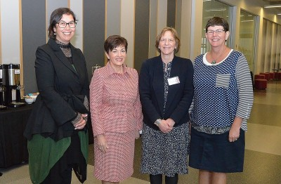 Image of Dame Patsy with Prof Rawinia Higgins, Prof Sonia Mazey and Annemarie de Castro