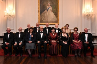 an image of Their Excellencies, ONZ members, and Rachel Hayward, Deputy Secretary (Constitutional and Honours)
