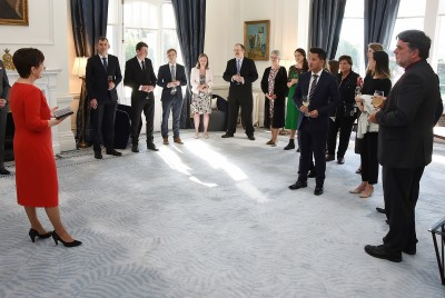 Image of Dame Patsy giving a speech at  the 2018 Rhodes Scholar reception