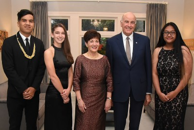 Image of Dame Patsy and Sir David with the 2018 scholars Matthew Manukuo,Nicole White and Jennifer Thonrithi