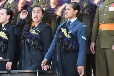 Image of members of the NZDF cultural party performing