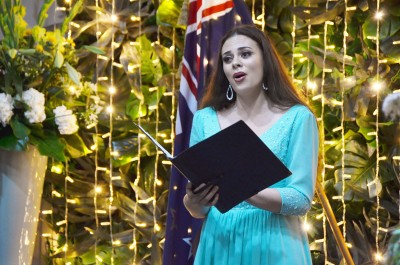 Image of Opera singer Madison Nonoa performing