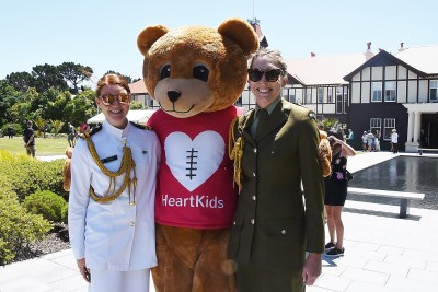 Image of ADCs Emma and Grace with Maia, the Heart Kids Bear