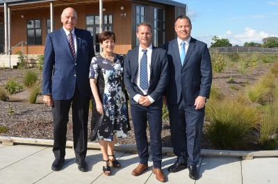 Image of Dame Patsy and Sir David with Kauri Flats School Principal Matt Williams and Board Chair, Daniel Newman