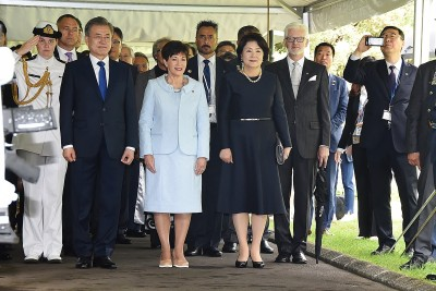 Image of Dame Patsy with the President of the Republic of Korea HE Moon Jae-In and his wife HE Kim Jung-Sook