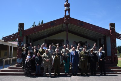 an image of Outside the wharenui at the New Zealand Army National Marae